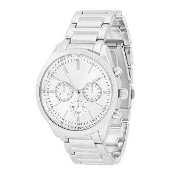 Chrono Silver Metal Watch-Watches-Here Comes The Bling