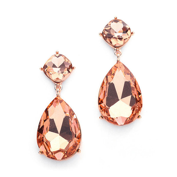 Chunky Champagne Crystal Wedding or Prom Earrings in Rose Gold-Earrings-Here Comes The Bling™