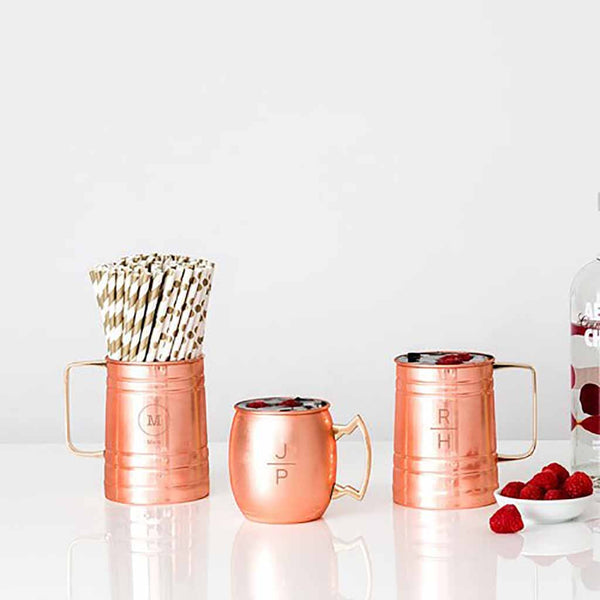 Circle Monogram Copper Moscow Mule Beer Stein-Drinkware-Here Comes The Bling™