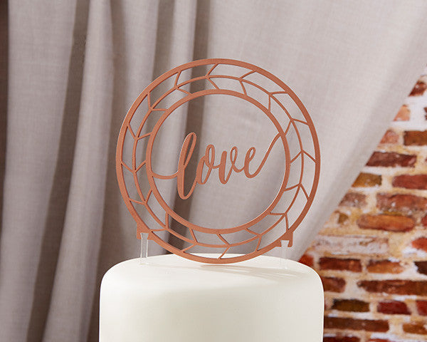 """Circle of Love"" Copper Acrylic Cake Topper-Cake Toppers-Here Comes The Bling™"
