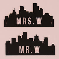 Cityscape Silhouette Black Acrylic Mr & Mrs Chair Signs-Decor-Chairs-Here Comes The Bling™