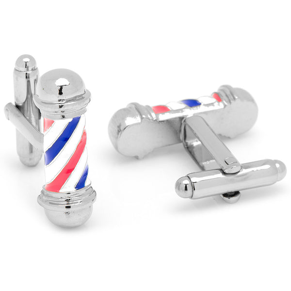 Classic Barber Shop Pole Cufflinks-Cufflinks-Here Comes The Bling‰̣ۡå¢