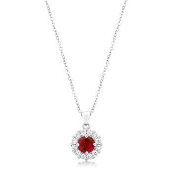 Classic Birthstone Bella Pendant Necklace in Ruby Red-Necklaces-Here Comes The Bling