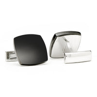 Classic Black Curved Square Cufflinks-Cufflinks-Here Comes The Bling™