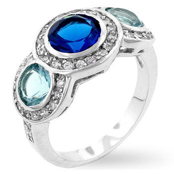 Classic Blue Cubic Zirconia Ring-Rings-Here Comes The Bling™