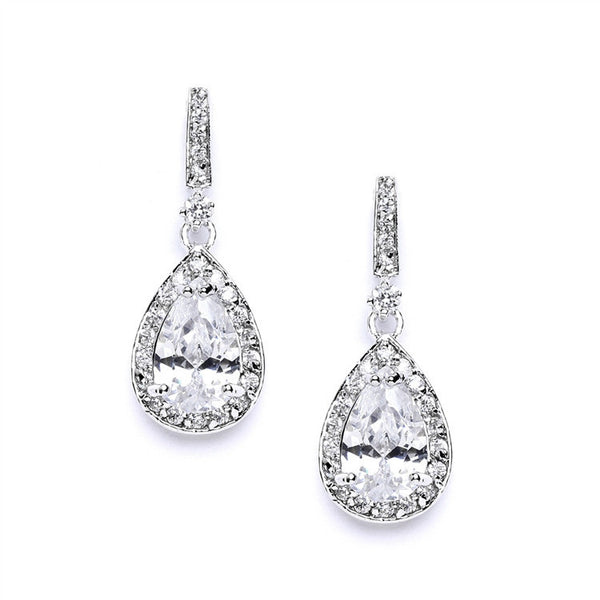 Classic Cubic Zirconia Bridal Earrings with Framed Pear Drops-Earrings-Here Comes The Bling™