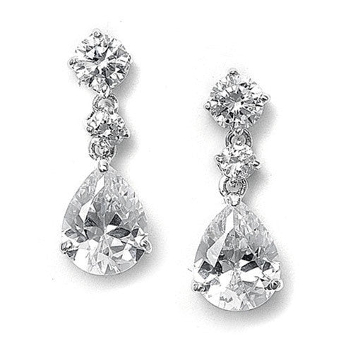 Classic Cubic Zirconia Teardrop Earrings-Earrings-Here Comes The Bling™