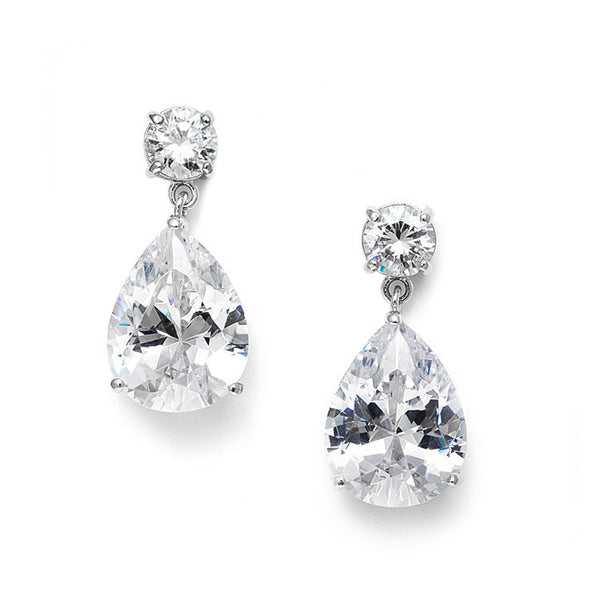 Classic CZ Pearshape Drop Earrings-Earrings-Here Comes The Bling™