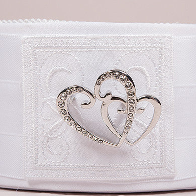 Classic Double Heart Flower Girl Basket White-Flower Basket-Here Comes The Bling™
