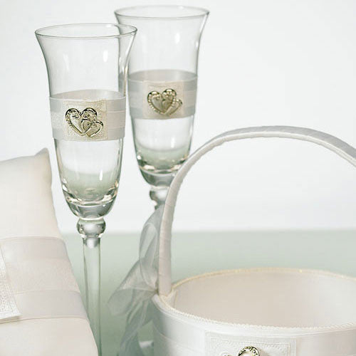 Classic Double Heart Wedding Champagne Flutes-Toasting Flutes-Here Comes The Bling™