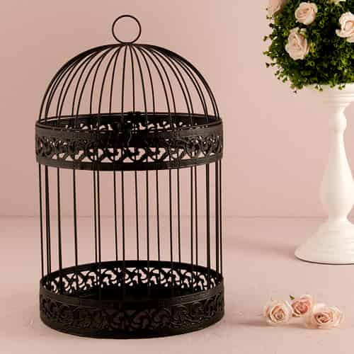 Classic Round Decorative Black Birdcage-Card Box-Here Comes The Bling™