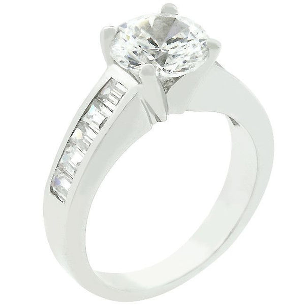 Classic Silvertone Engagement Ring-Rings-Here Comes The Bling™