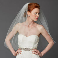 Classic Waist or Elbow Length Single Layer Cut Edge Wedding Veil-Veils-Here Comes The Bling™
