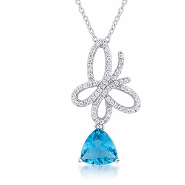 Claudia Aqua CZ Rhodium Butterfly Drop Necklace-Necklaces-Here Comes The Bling