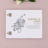 Clear Acrylic Wedding Guest Book - Antique Chic Etching-Guest Books-Here Comes The Bling™
