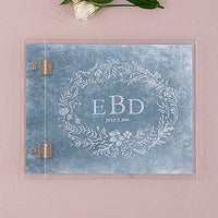 Clear Acrylic Wedding Guest Book - Modern Fairy Tale Etching-Guest Books-Here Comes The Bling™