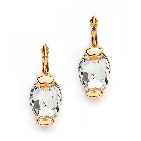 Clear Crystal Oval Drop Bling Earrings in Gold-Earrings-Here Comes The Bling™