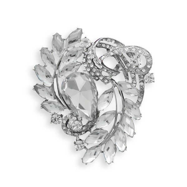 Clear Crystal Vine Design Fashion Pin-Brooches-Here Comes The Bling™