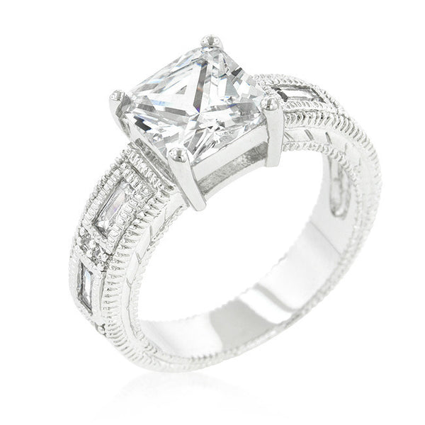 Clear Cubic Zirconia 5-Stone Ring-Rings-Here Comes The Bling™