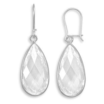 Clear CZ Drop Earrings-Earrings-Here Comes The Bling™