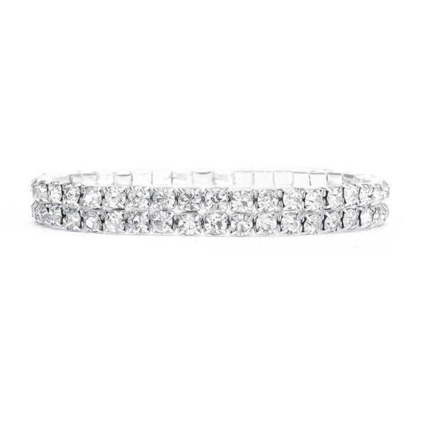 Clear Rhinestone Silver Stretch Prom Bracelet-Bracelets-Here Comes The Bling™