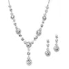 Clear Silver Floral Drop Necklace Set-Sets-Here Comes The Bling™