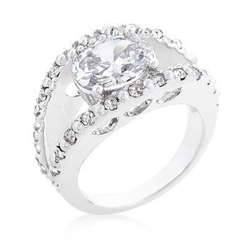 Clear Split Band Engagement Ring-Rings-Here Comes The Bling