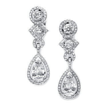 Clip-On Cubic Zirconia Pear Dangle Earrings-Earrings-Here Comes The Bling™