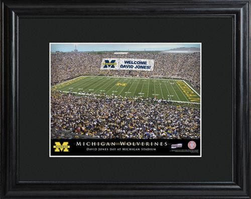 College Stadium Print with Wood Frame - MICHIGAN-Art-Here Comes The Bling™