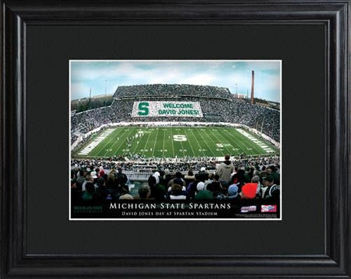 College Stadium Print with Wood Frame - MICHSTATE-Art-Here Comes The Bling™
