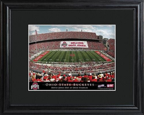 College Stadium Print with Wood Frame - OHIOSTATE-Art-Here Comes The Bling™