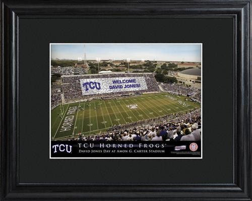 College Stadium Print with Wood Frame - TCU-Art-Here Comes The Bling™