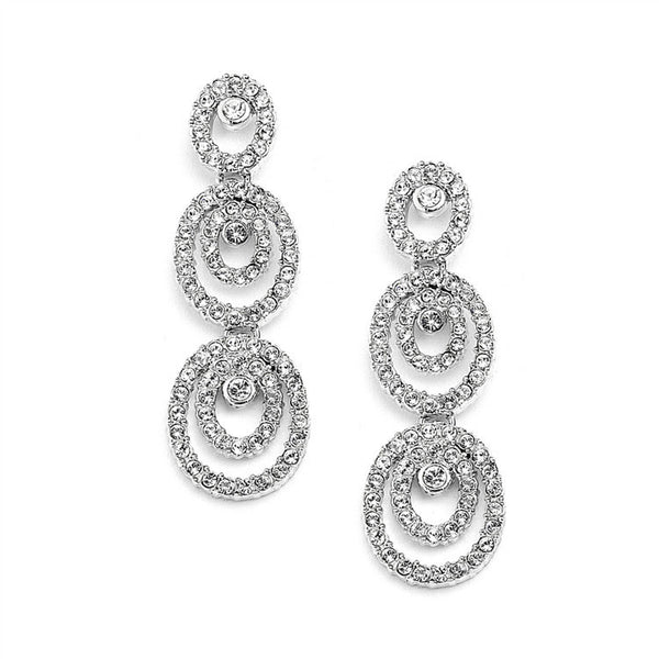 Concentric Ovals Wedding or Prom Dangle Earrings with Cubic Zirconia-Earrings-Here Comes The Bling™