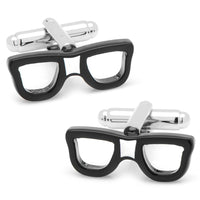 Cool Cut Taped Black Glasses Cufflinks-Cufflinks-Here Comes The Bling™