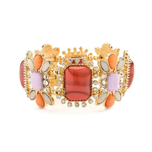 Coral & Opaque Pastel Stretch Bracelet-Bracelets-Here Comes The Bling™