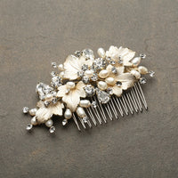 Couture Bridal Hair Comb with Hand Painted Gold Leaves, Freshwater Pearls and Crystals-Combs-Here Comes The Bling™