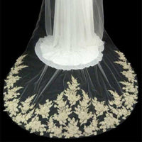 Couture Light Gold Lace Cathedral Bridal Veil-Veils-Here Comes The Bling™