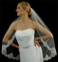 Couture Scalloped Edge Alencon Lace Bridal Veil-Veils-Here Comes The Bling™