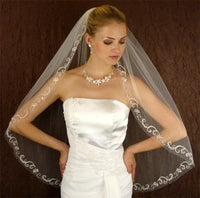 Couture Scrolled Floral Edge Bridal Veil-Veils-Here Comes The Bling™