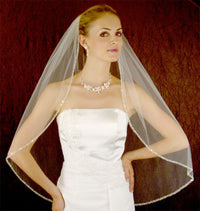Couture Seed Bead Trimmed Bridal Veil-Veils-Here Comes The Bling™