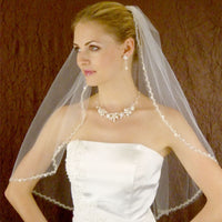 Couture Silver Bead Trimmed Bridal Veil-Veils-Here Comes The Bling™