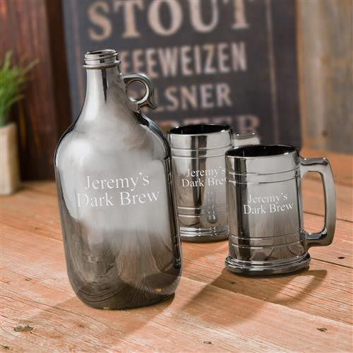 Craft Beer Personalized Gunmetal Growler and Beer Mug Set-Growler-Here Comes The Bling™
