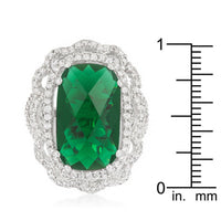 Crest Cocktail Ring with Brilliant Green CZ-Rings-Here Comes The Bling