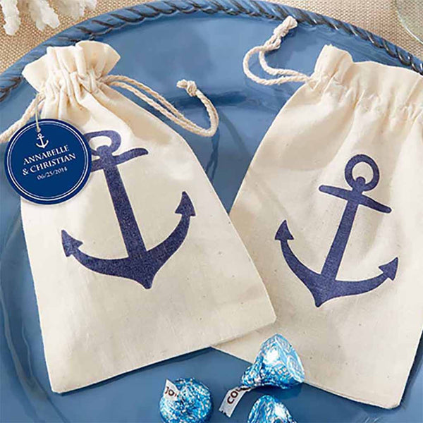 """Voyages"" Anchor Muslin Favor Bag (Set of 24)"