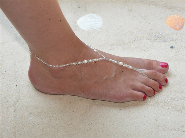 Crystal and Ivory Glass Pearl Foot Jewelry Barefoot Sandal with Beaded Anklet-Foot Jewelry-Here Comes The Bling™