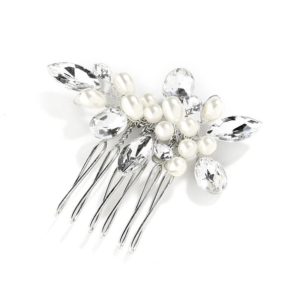 Crystal and Pearl Hand-Made Wedding Hair Comb-Combs-Here Comes The Bling™