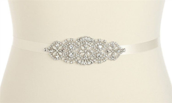 Crystal and Pearl Vintage Bridal Sash or Headband (Available in Ivory or White)-Sash-Here Comes The Bling™