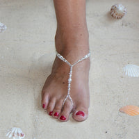 Crystal and White Glass Pearl Foot Jewelry Barefoot Sandal with Beaded Anklet-Foot Jewelry-Here Comes The Bling™