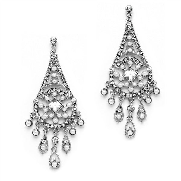 "Crystal and White Pearl ""Art Deco Collection"" Earrings-Earrings-Here Comes The Bling™"
