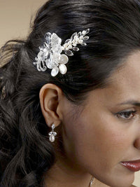 Crystal Bridal Comb with Freshwater Spray-Combs-Here Comes The Bling™